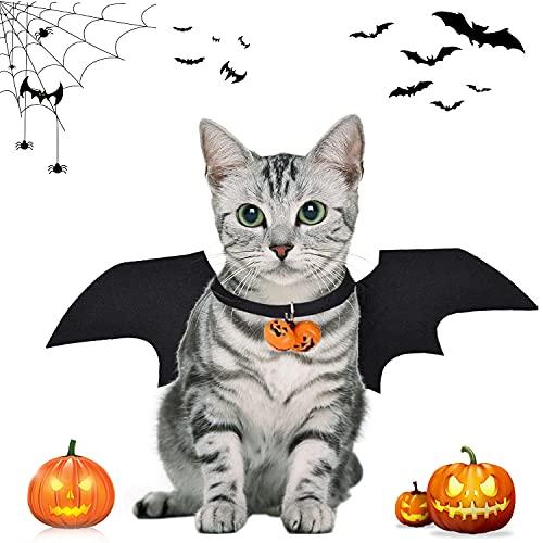 YISKY Halloween Haustier Kostüm, Fledermaus Kostüm, Haustiere Cosplay-Kostüm, Fledermausflügel, Haustier Fledermausflügel mit 2Pcs Pumpkin Bell, für Haustiere Hunde und Katzen, Halloween Partys
