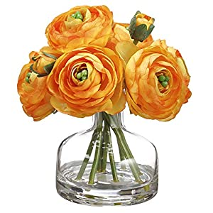 SilksAreForever 7″ Silk Ranunculus Flower Arrangement w/Glass Vase -Orange (Pack of 6)