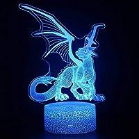 3Dイリュージョンナイトライト 翼のある動物のドラゴン キッズ3Dイリュージョンランプキッズナイトライト7色変更スマートタッチおもちゃパーティー用品女の子の誕生日プレゼントのアイデア男の子