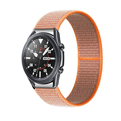 PZZZHF 20 22mm Watch Band for Gear S3 Frontier Strap Galaxy Watch 3 45mm 41mm 46 Active 2 44mm 40mm Nylon para Huawei Watch GT2E / 2 Strap 42 (Band Color : Spicy Orange 4, Band Width : 22mm)