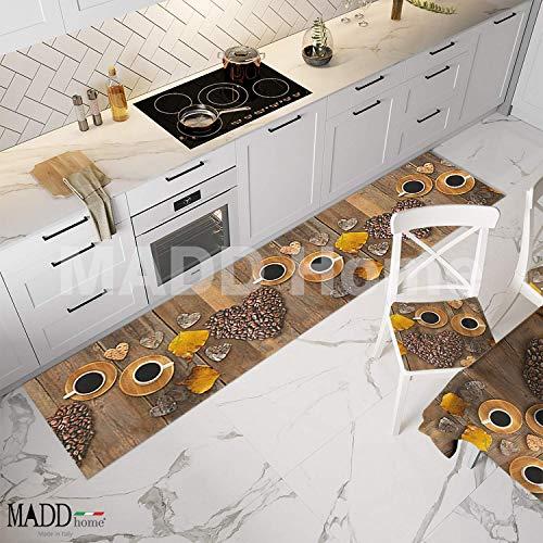 MADD home Tappeto passatoia Cucina Antiscivolo Antimacchia Lavabile lavatrice gommato stampa digitale 100% Made in Italy (TAZZA CAFFE, 52cm X 200cm)