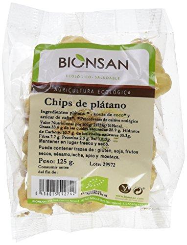 Bionsan Chips de Plátano Deshidratado Ecológicos - 6 Bolsas de 125 gr - Total: 750 gr