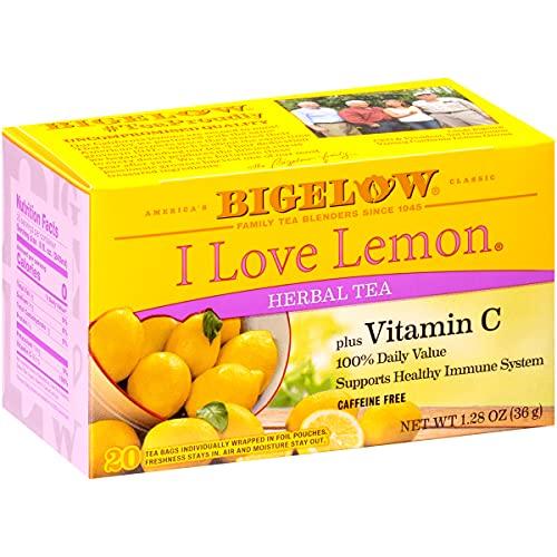 Bigelow I Love Lemon with Vitamin C Herbal Tea Bags, 20 Count Box (Pack of 6) Caffeine Free Herbal...