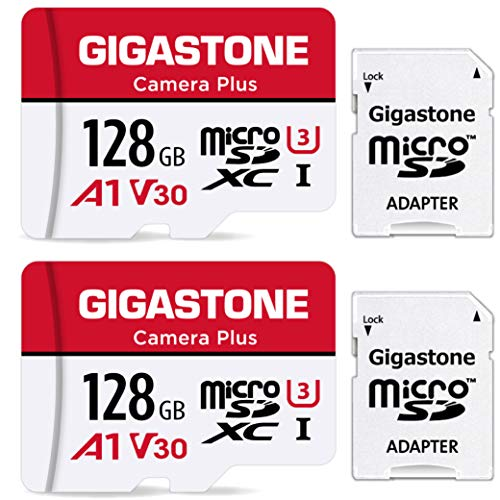 Gigastone 128GB 2-Pack Micro SD Card, Camera Plus, GoPro, Action Camera, Sports Camera, High Speed 100MB/s, 4K Video Recording, Micro SDXC UHS-I A1 V30 U3 Class 10