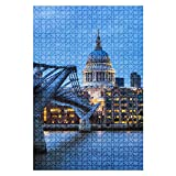 1000 Pieces Wooden Jigsaw Puzzle Millennium Bridge and st Paul's Cathedral in Downtown London England Fun and Challenging Board Puzzles for Adult Kids Large DIY Educational Game Toys Gift Home Decor
