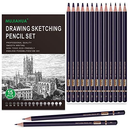 MUJINHUA Professional Drawing Sketch Pencils Set, 15 Pieces Drawing Graphite Pencils(12B, 10B, 8B, 6B, 5B, 4B, 3B, 2B, B, HB, F, H, 2H, 3H, 4H)for Drawing, Sketching, Shading, for Beginners & Artists