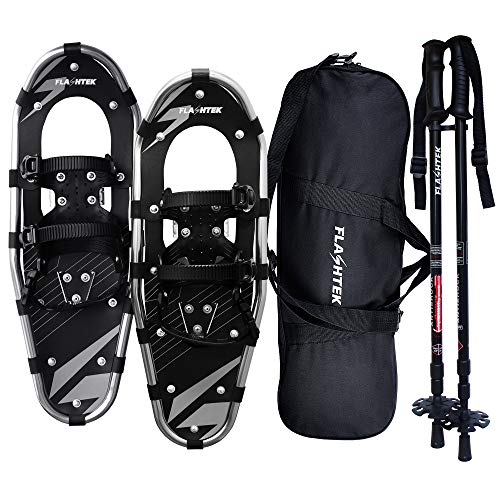 FLASHTEK 21/25/30 Inches Light Weight Snowshoes for Women Men Youth Kids, Aluminum Terrain Snow Shoes with Trekking Poles and Carrying Tote Bag (Gray, 21