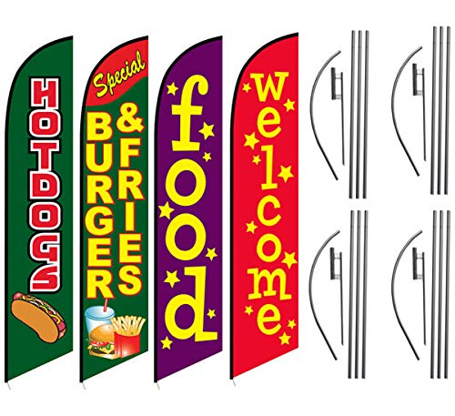 Hot Dogs Burgers Fries Food Welcome Feather Flag Kit Package, 4 Banner Swooper Flag Kits with Flag Poles and Ground Stakes, Great for Restaurant Food Stand at Carnivals or Events