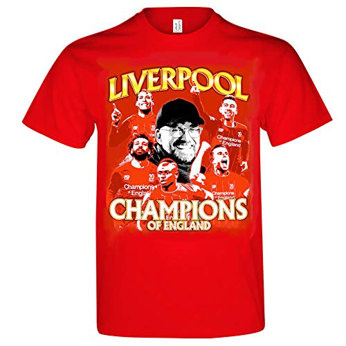 Liverpool Champions of England T-Shirt 2020 Gr. M, Klopp Van Divik Mo Salah Mähne