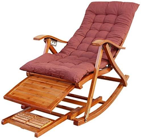 lilizhang Silla Plegable reclinable for Adultos bambú Mecedora casa Fresca Silla Viejo sólido...