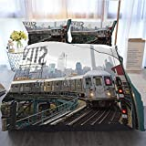 OTTOSUN NYC Bedding 3 Piece Duvet Cover Sets,NYC MTA Subway Train On Line 7 in Queens,Home Luxury Soft Duvet Comforter Cover,Full