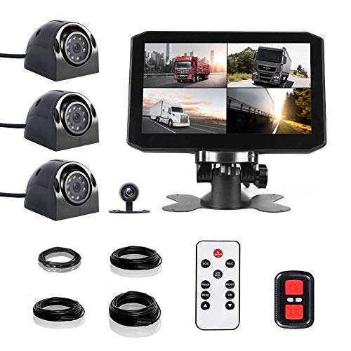 VSYSTO 4CH Dash Cam Record Camera Recording Backup DVR Front & Sides & Rear VGA for Semi Trailer Truck Van Tractor with Infrared Night Vision Lens 7.0'' Monitor