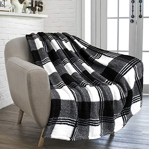 PAVILIA Buffalo Plaid Black White Sherpa Throw Blanket for Couch Sofa | Fluffy Shaggy Fleece Blanket | Plush, Soft, Fuzzy, Cozy, Warm Microfiber Throw Checkered Blanket, 50x60