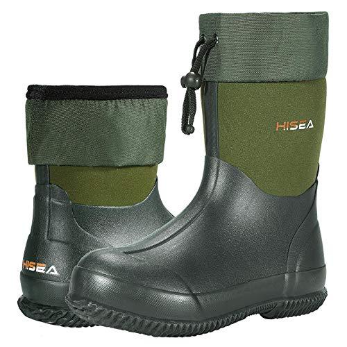 HISEA Ankle-Height Rain Boots Rubber Garden Boots Waterproof Muck Riding Boots Neoprene Outdoor Work Boots for Women Men Green