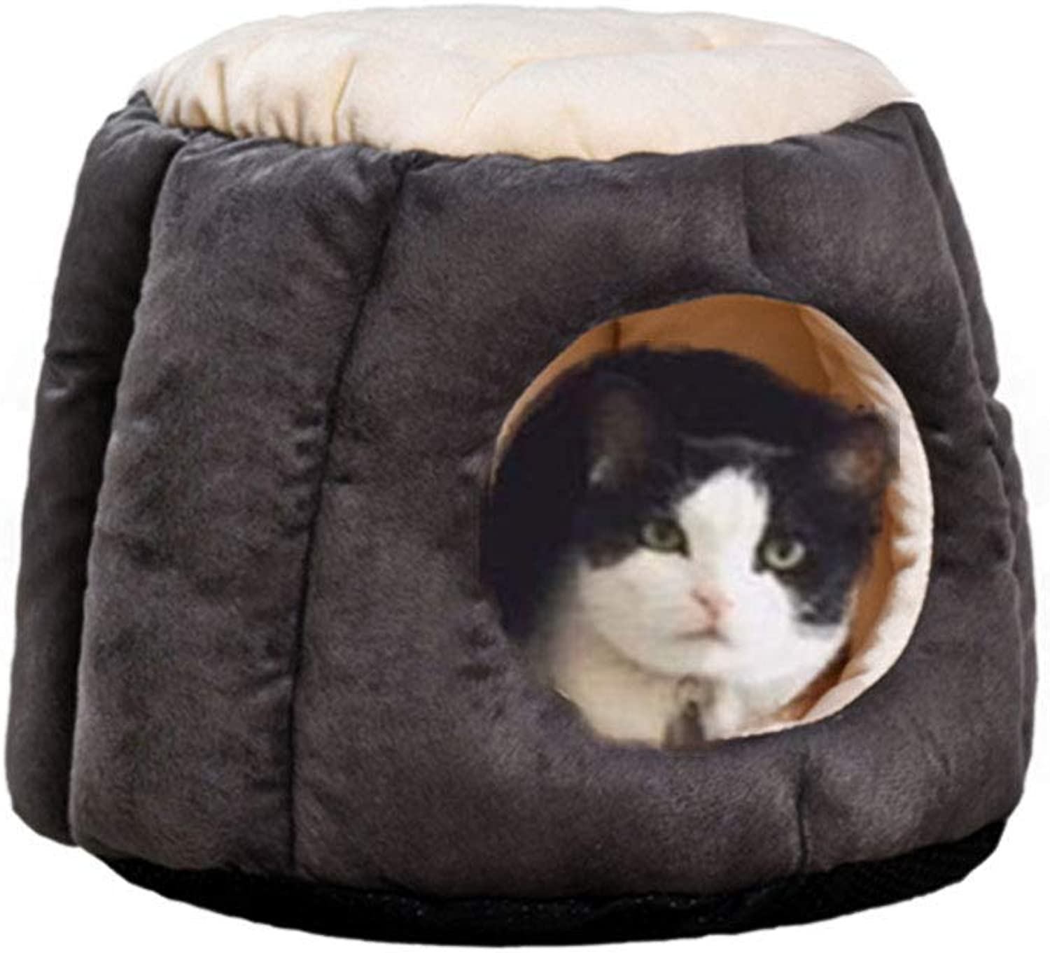 Cat House Soft Warm Cat Condo FrustumShape Puppy Dog Bed Cat Hideout Stylish Cat Bed Cat Hut Hideaway for Winter to Cat or Puppy