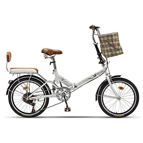 Pliuyb Folding Bicycle, 20-inch Variable Speed Bicycle, with backrest Cushion, Suitable for Traveling to Work, Adult Family Student Bicycle