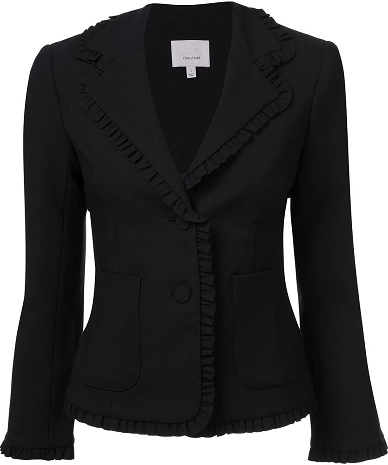 Clinq A Sept Black Ruffled Blazer