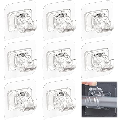 Curtain Rod Bracket No Drilling 8pcs, Self Adhesive Nail Free Curtain Rod Wall Brackets Hooks, Adjustable Drapery Towel Holder Fixing Hook for Home Bathroom Kitchen and Hotel Use (Transparent)