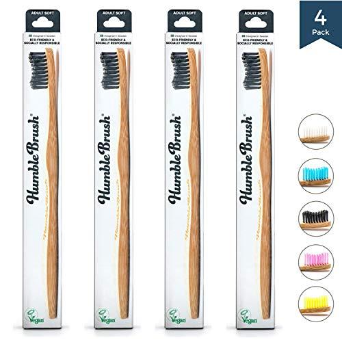 Humble Brush Cepillo de dientes de bambú para adultos, suave, negro, 4 unidades