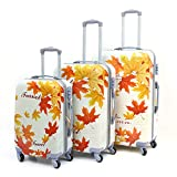 Archibolt 3-Piece Luggage Set Suitcase Rolling Spinner, Leaves