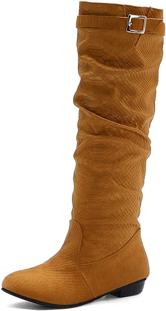 VOMIRA Women's Knee High Boots Fashion Chunky Lo Solid PU Max 84% OFF Max 41% OFF Buckle