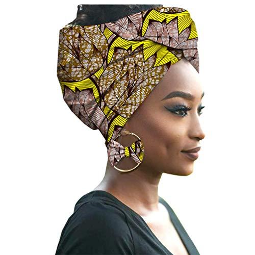 Yijinstyle Damen Afrikanischen Turban Kopf mit Ohrring Elastische Stirnband Hut Elegante Kappen Gedruckt Hijab Headwrap (Style#19, 55 * 180cm)