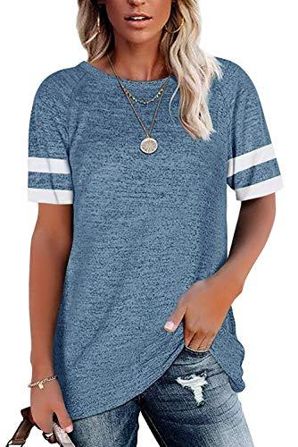 ANFTFH Camiseta Suelta con Cuello Redondo de Manga Corta/Rayas para Mujer Azul...
