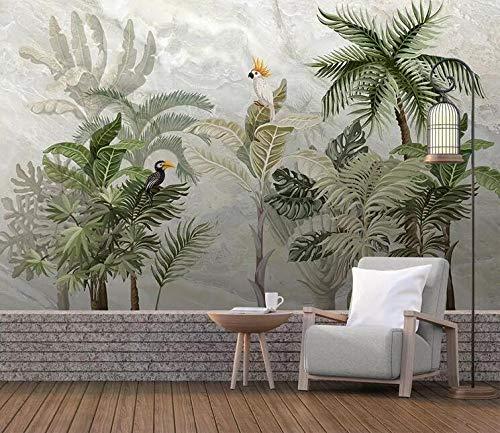 Papel Pintado 3D Selva tropical mármol árboles pájaros Mural De Pared 3D Moderna Decoración De Pared