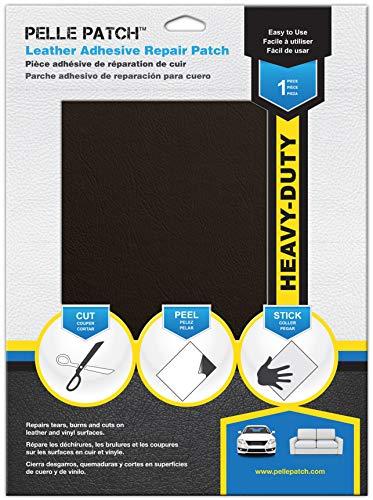 Pelle Patch - Parche Adhesivo de reparación para Cuero y Vinilo - Disponible en 25 Colores - Heavy-Duty 20cm x 28cm - Marrón Oscuro