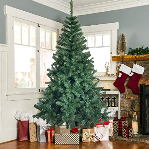 6Ft Artificial Christmas Tree-Premium Hinged Solid Metal Stand, 800 Branch Tips, Easy Assembely Unlit Xmas Full Tree for Outdoor Indoor Home, Office, Shops, and Hotels - Green