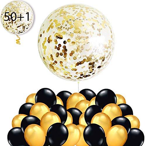 50 Globos Oro y Negro + 1 Globo Confeti Gigante XXL Confetti Balloon. Globo Transparente con Confeti Dorado para Fiesta de Cumpleaño, Graduacion y Año Nuevo