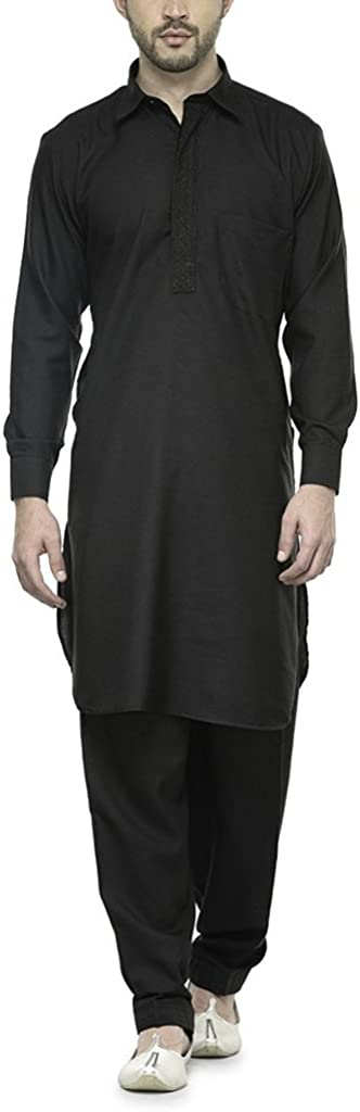 Royal Men's Black Tericott Standard Pathani Suit Salwar Set Kurta