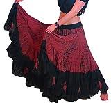 25 Yard Yards Tribal Gypsy algodón vientre danza de la danza de la falda ATS L36inch - TIE DYE DESIGN (Marrón negro)