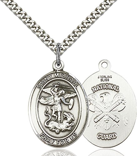 bliss Sterling Silver Saint Michael The Archangel National Guard Medal Pendant, 1 Inch