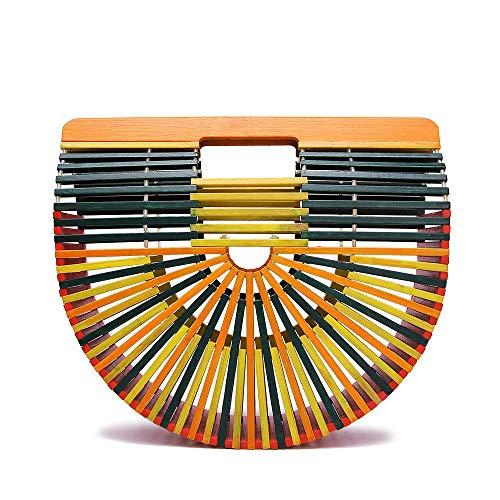 Fashionable Colorful Bamboo Woven Bag Vintga Bamboo Handbag, Handmade Tote Bamboo Purse, Straw Beach Bag For Women