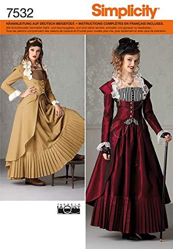 Simplicity Schnittmuster 7532 HH Historisches Kostüm Gr. 32-38