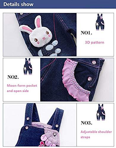 Baby Mädchen Denim Overall Jeans Hose mit Hosenträger Kinder Baumwolle Latzhose Kaninchen Butterfly – 100 - 4