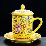 Gossip Boy Ceramica Kung Fu Set tè Set di Ceremony Accessori Tazza di Acqua Tazza di tè Tazza di tè smaltato Acqua tè separata Macchina Tazza Tazza Tazza Ciotola piattino Coperchio-Giallo