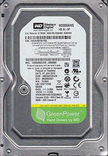 WD5000AVVS-63M8B0, DCM HBRNHV2CGN, Western Digital 500GB SATA 3.5 Hard Drive