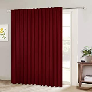 NICETOWN Blackout Blinds for Sliding Glass Door, Outside Curtains for Patio, Wide Width Drapes for Living Room (Burgundy Red, 100 inches Wide x84 Long, 1 Piece)
