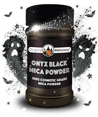 Poudre de mica, 3,5 onces / 100 grammes, Catégorie cosmétique, Couleurs vraies, Magnifique Mica pour la slime, la fabrication de savon, les bombes pour le bain, le maquillage, les ongles (Noir Onyx)