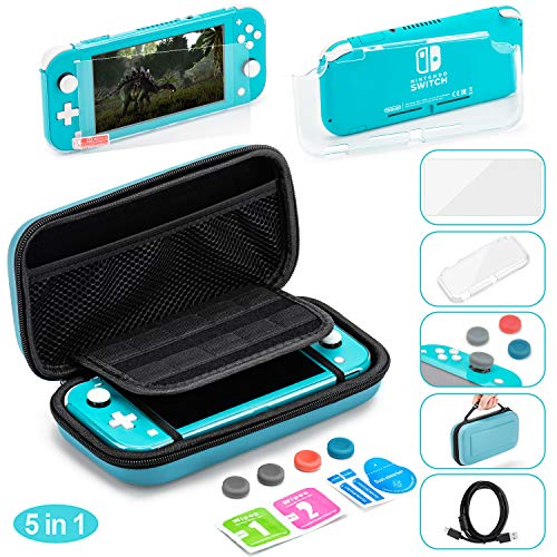 Accessories Bundle for Nintendo Switch Lite Console,5 in 1 Accessories Kit,Portable Carrier Travel Bag Case Comes with 10 Game Card Slots for Switch Lite (Gift Pack - Turquoise Blue)