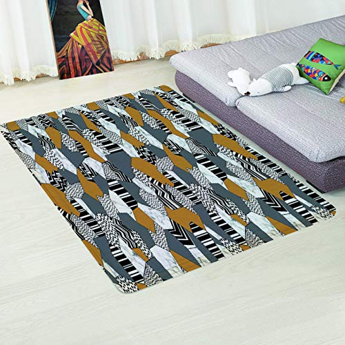 MMHJS Nordic Non-Slip Absorbent Coffee Table Desk Mat Simple Leaf Geometric Printing Carpet Bedroom Living Room Hotel Homestay Party Carpet