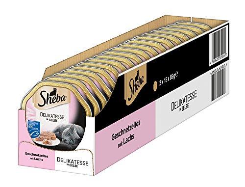 Sheba Delikatesse in Gelee Katzenfutter Geschnetzeltes mit Lachs (MSC), 36 Schalen (36 x 85 g)