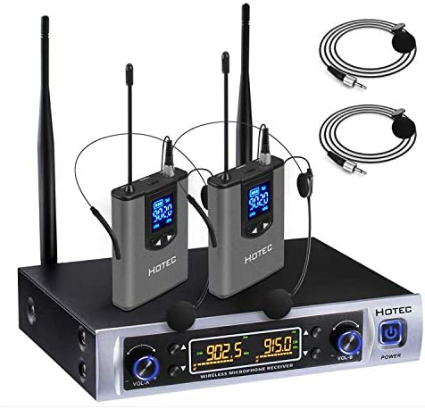 Hotec UHF Dual Wireless Microphone System with Lapel Lavalier and Headset Microphones Over PA product image