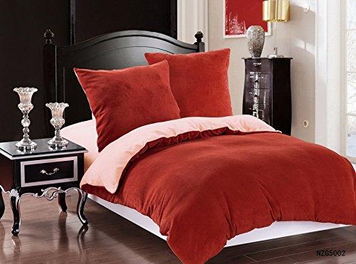 DecoKing 200x220 Bordeaux Creme Winter Bettwäsche 3tlg Bettwäscheset flauschig Bettbezüge Bettwäschegarnituren Microfaser mollig weich kuschelig weinrot rot red Cream SHR 6