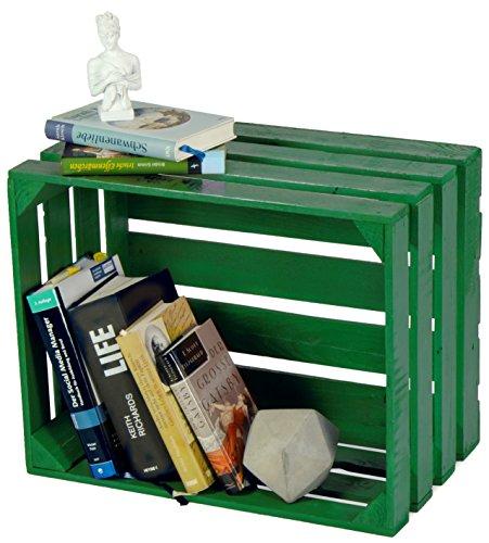LAUBLUST Sehr Große Vintage Holzkiste - 50x40x30cm, Grün Lackiert, Neu, Unbenutzt   Möbel-Kiste   Wein-Kiste   Obst-Kiste   Apfel-Kiste   Deko-Kiste aus Holz
