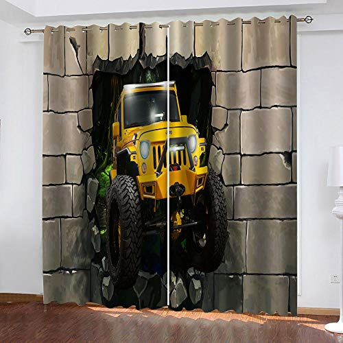 MXYHDZ Cortinas Dormitorio Opacas - Coche amarillo tridimensional. Cortinas Salón para Habitación Opacas con Aislamiento Térmico- 150 x 166 cm para Oficina, Dormitorio habitación de los niños, 2 Pieza