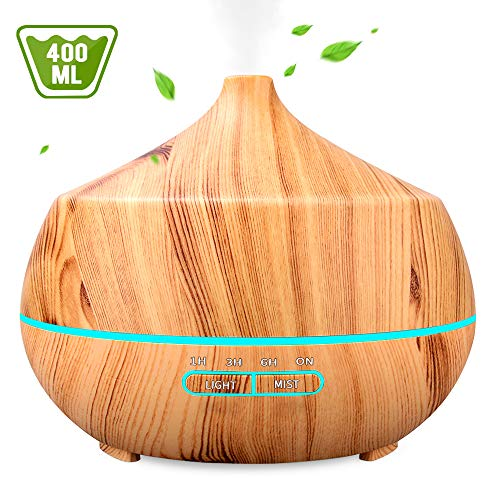 Aromatherapy Essential Oil Diffuser 400ML, INSMART Ultrasonic Cool Mist Humidifier with 7 Color LED Lights| 4 Timer| Waterless Auto Off for Bedroom Office Yoga Spa - Light Wood Grain