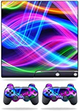 MightySkins Skin Compatible with Sony Playstation 3 PS3 Slim Skins + 2 Controller Skins Sticker Light Waves